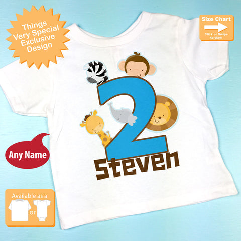 Two Year Old Jungle Birthday Shirt With Name Second Personalized