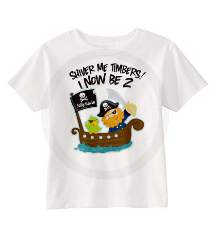 Pirate Theme Birthday Shirt For 2 Year Old Boy