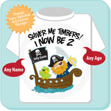 Two Year Old's Pirate Birthday Shirt, Personalized Pirate Birthday Shirt with Your Child's Name and Age 05032012b