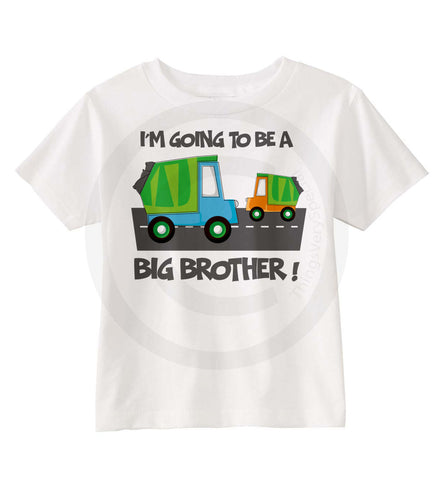 I'm Going to be a Big Brother Shirt with Garbage Trucks