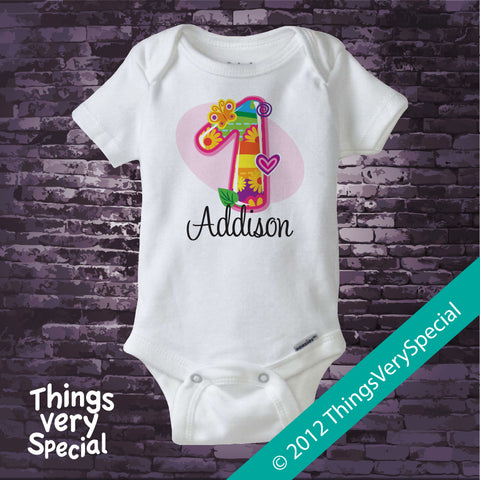 Fancy Number First Birthday Onesie Bodysuit 100% Cotton short or long sleeve