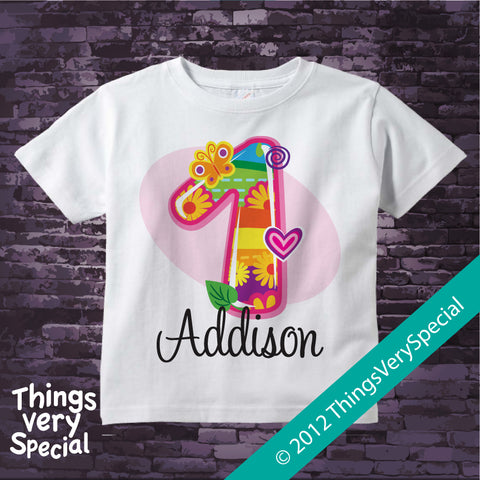 Fancy Number First Birthday T-shirt 100% Cotton short or long sleeve