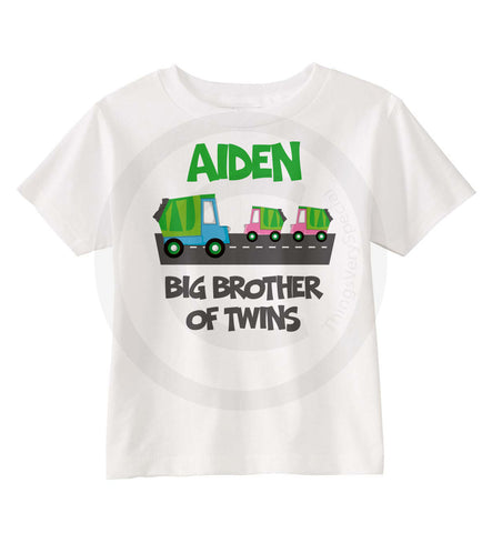 Big Brother of Twin Girls Shirt with Garbage Trucks