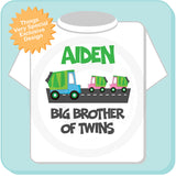 Big Brother of Twins Garbage Truck TShirt, Personalized Garbage Truck Big Brother shirt - Big Brother of twin girls 05302014c