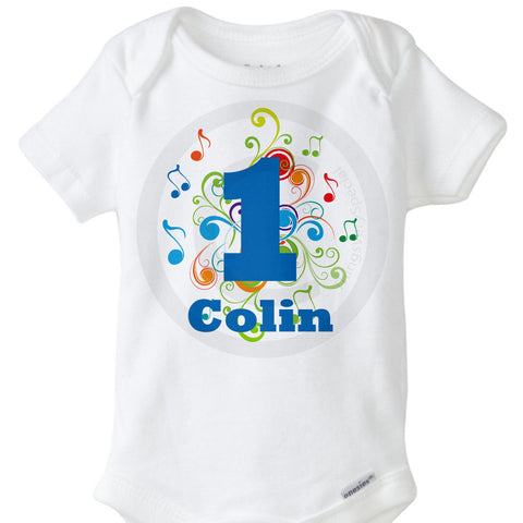 Music Theme Boy's First Birthday Onesie Bodysuit