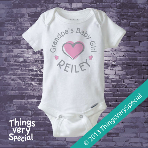 Grandpa's Baby Girl Tee Shirt or Onesie Bodysuit with child's name and pink heart 06102013b