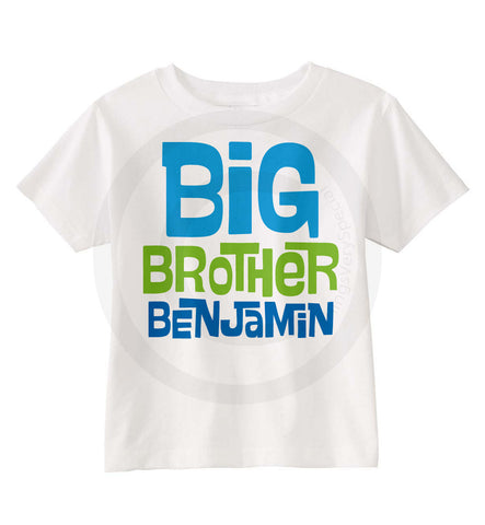 Big Brother Shirt with Blue and Green Text
