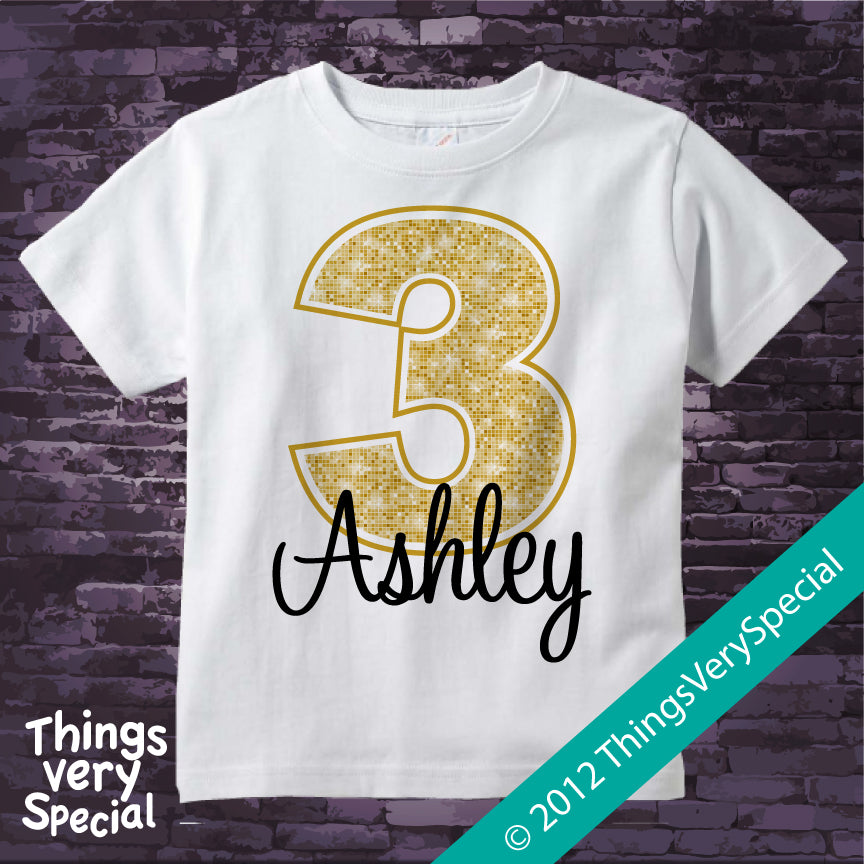 3rd Birthday Shirt For 3 Year Old Girl Personalized Golden Number Third 06162012a