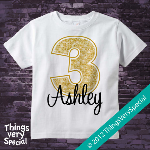 3rd Birthday shirt for 3 year old girl, Personalized golden number third birthday Shirt 06162012a
