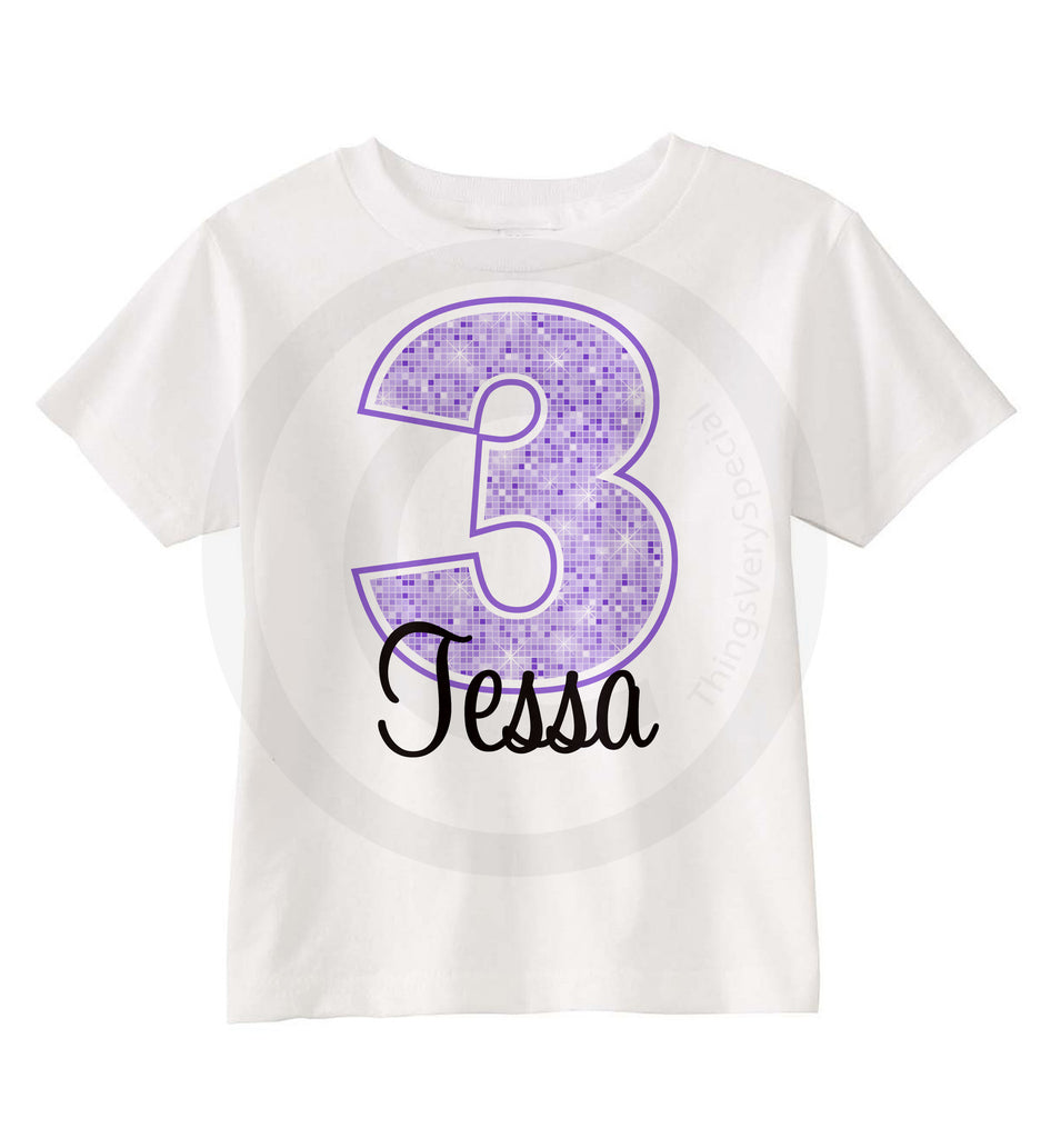 3rd Birthday Shirt For 3 Year Old Girl Personalized Purple Number Third 06162012b