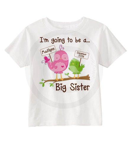 Big Sister shirt with Birds | 06172015h | ThingsVerySpecial