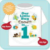 Boy's One Year Old Bug Birthday Shirt with Name, 1st Birthday Shirt, Personalized Bug Birthday Theme 06202014a