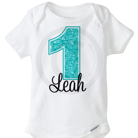 Light Teal First Birthday Onesie Bodysuit for girls