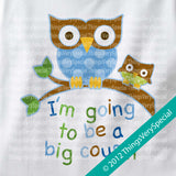 I'm Going to Be a Big Cousin owl Onesie Bodysuit for boys in short or long sleeve