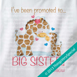 Giraffe Promoted To Big Sister Onesie Bodysuit 100% Cotton Short or Long Sleeve baby boy giraffe