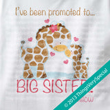 Giraffe Promoted To Big Sister Onesie Bodysuit 100% Cotton Short or Long Sleeve Baby Girl Giraffe