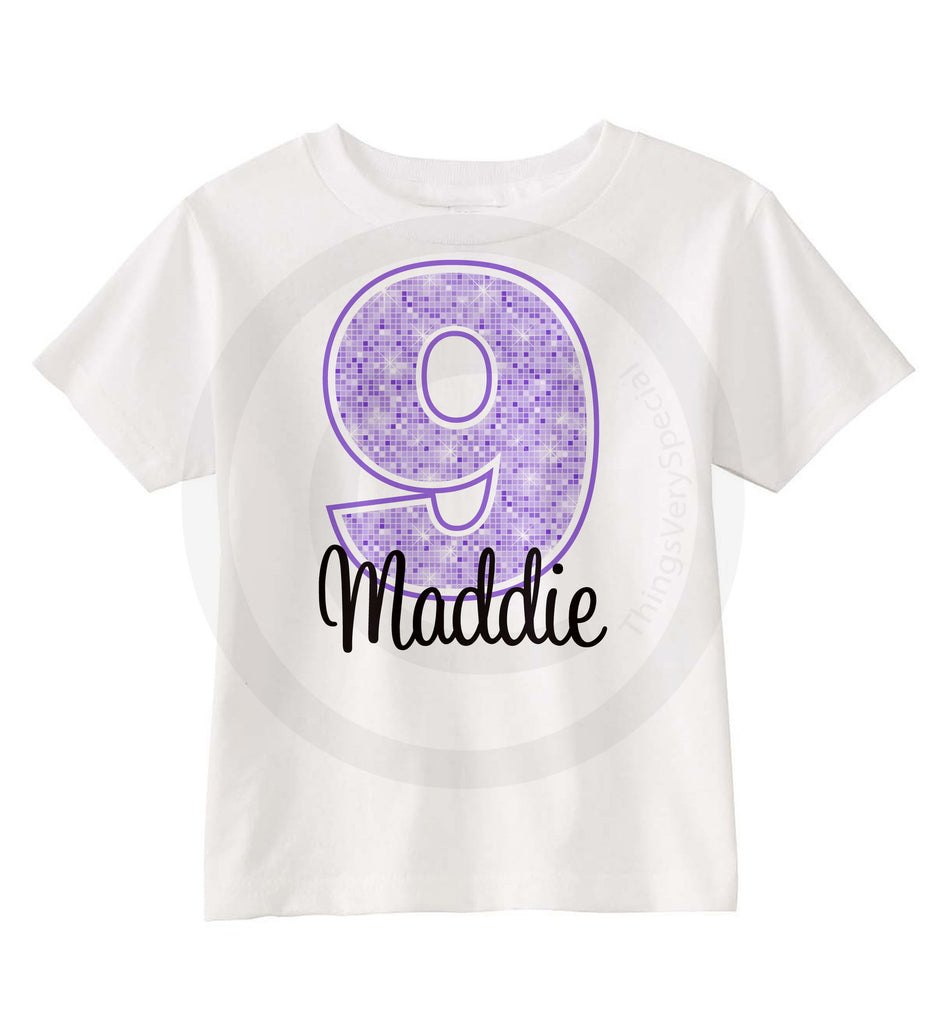 9th Birthday Shirt For 9 Year Old Girl Personalized Purple Number Ninth 07012013b