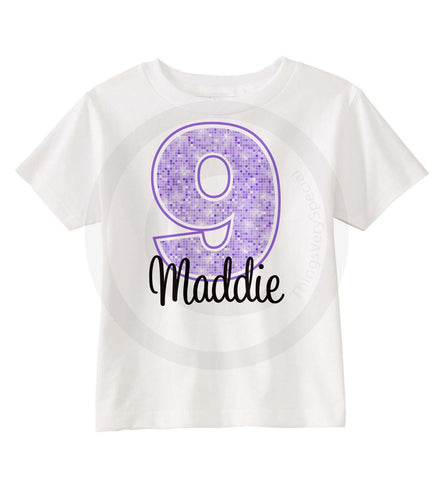 Purple Birthday Shirt for Girls, Nine year old Birthday Shirt