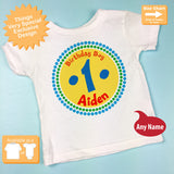 First Birthday Shirt, Yellow Blue an Red Circle 1st Birthday Tee 07022012c