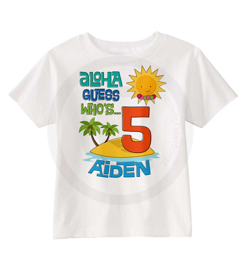 Hawaiian Luau Birthday Shirt For 5 Year Old Boy 07022014b