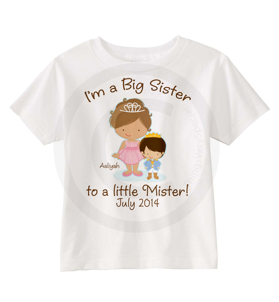 This Little Princess Big Sister Brother Sister Toddler Girl Curved Hem Tee