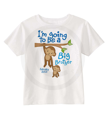 I'm going to be a big brother Monkey shirt with due date