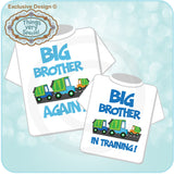 Set of Two matching Big Brother tee shirts for Big Brother Again and Big Brother in training with Garbage Trucks
