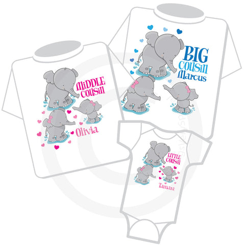 Matching Cousins set of three Tee shirts and Onesie Elephants