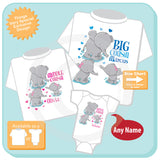 Set of Three, Big Cousin, Middle Cousin and Little Cousin Elephant Shirts and Onesie Personalized with your child's name 07152015s