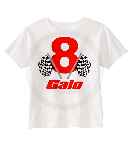 Boys Racing Theme Birthday Shirt