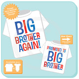 Set of Two, Boys Sibling Big Brother Again and Promoted to Big Brother Tee Shirts, Pregnancy Announcement 07232015g