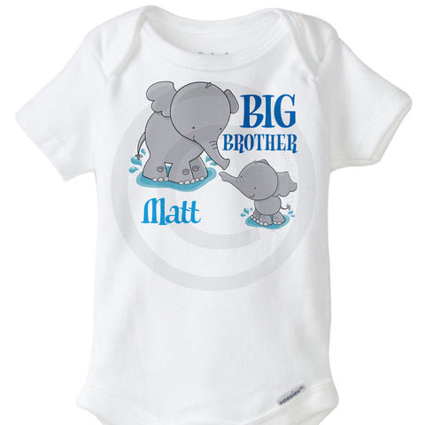 Big Brother Onesie with Elephants - Personalized