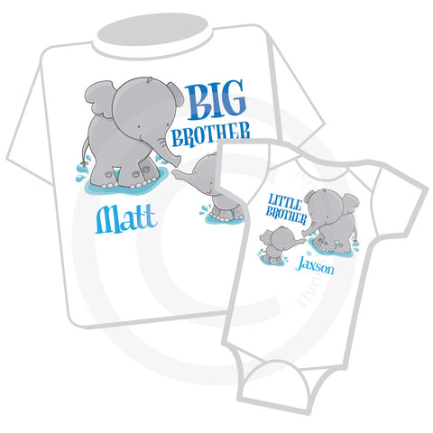Matching Big Brother Little Brother Set with Elephants