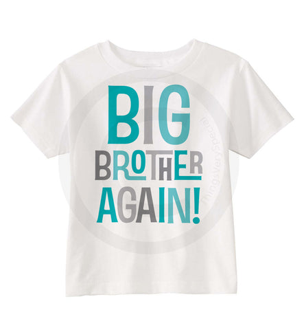 Big Brother Again Shirt in Aqua and Grey
