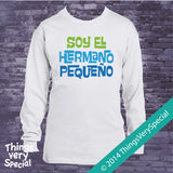 Spanish Little Brother Shirt or Onesie Bodysuit Soy El Hermano Pequeno with Blue and Green Text 08142014j-2
