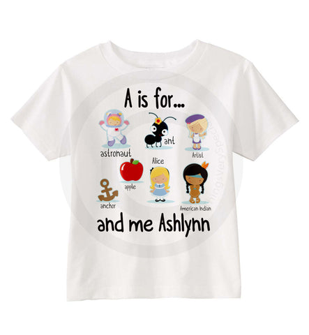 A is for Alphabet Shirt for Girls | 08142014l | ThingsVerySpecial