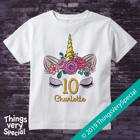 Girl's Unicorn Tenth Birthday Tee Shirt, Personalized