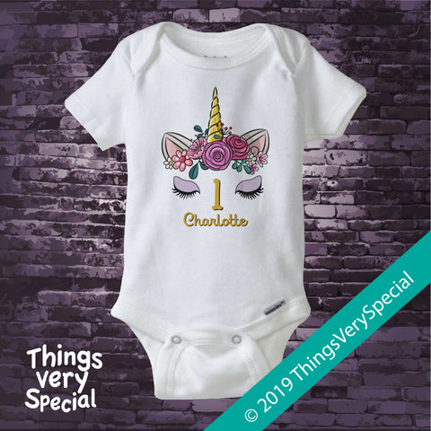 Girl's Unicorn First Birthday Tee Shirt or Onesie Bodysuit, Personalized