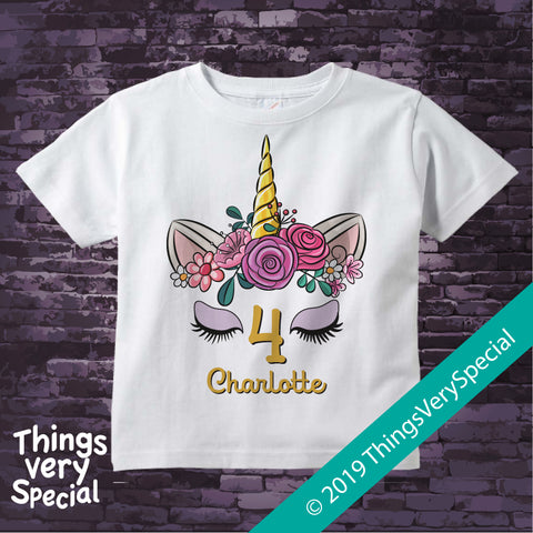 Girl's Unicorn Fourth Birthday Tee Shirt, Personalized 08152019a