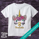 Girl's Unicorn Eighth Birthday Tee Shirt, Personalized