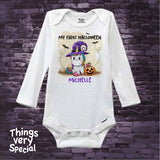 First Halloween Unicorn Baby One Piece outfit Personalized Baby's first Halloween Onesie 1st Halloween Onesie, Cute Pumpkin 08162019c