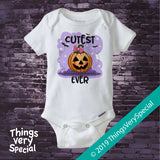 Halloween Onesie, Cutest Pumpkin Ever One Piece Bodysuit Halloween Outfit 08162019d