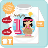 Luau Hawaiian First Birthday Shirt Personalized, Hawaiian Theme Birthday Party 08202015a