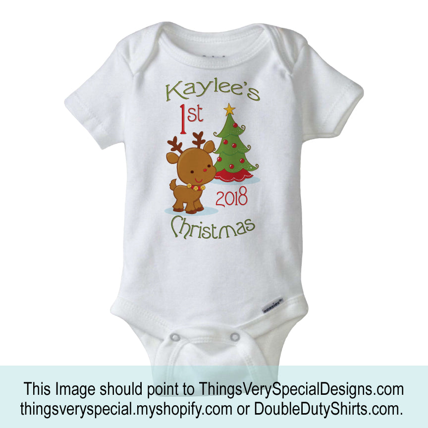 ba803e8b8ce3 Baby's First Christmas Onesie 2018 - 1st Christmas Bodysuit - Christmas  outfit for baby - 08222012d