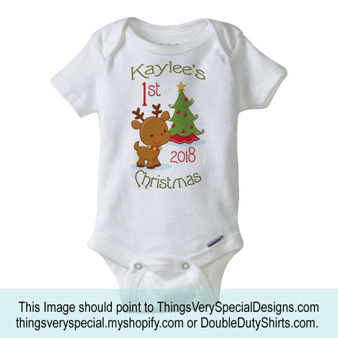 ThingsVerySpecial Personalized First Christmas Onesie with Reindeer