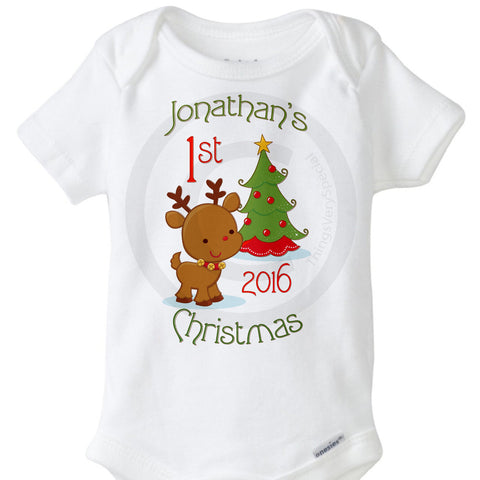 Baby's Personalized First Christmas Onesie Bodysuit