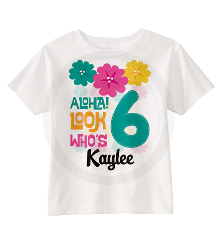 Hawaiian Luau Birthday Shirt for Girls