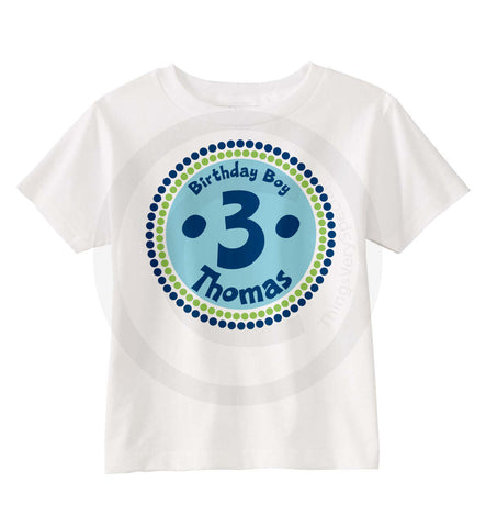 Boy's Third Birthday Shirt with Blue and Green Circle