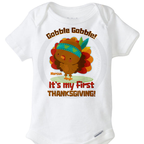 Gobble Gobble It's my First Thanksgiving Onesie Bodysuit