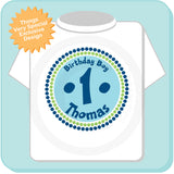 Birthday Boy Shirt with Circle design in Green Light Blue and Dark Blue 08302010a